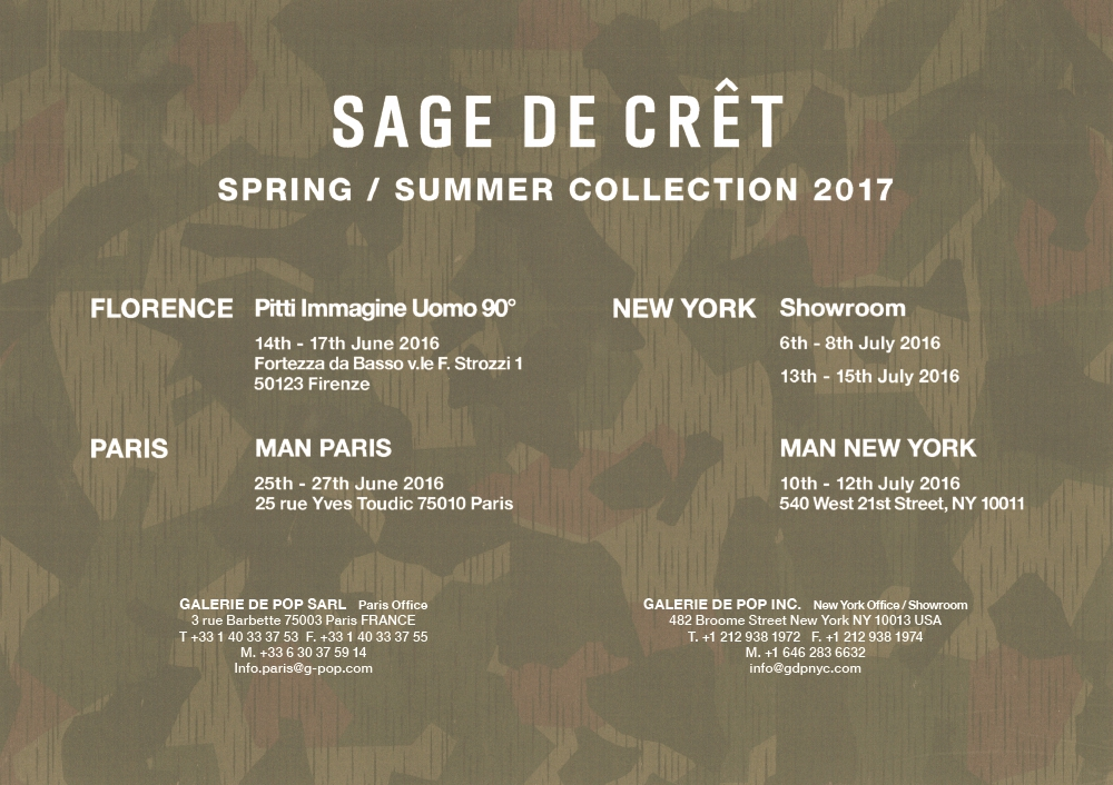 SAGE DE CRET S/S 2017  EXHIBITION SCHEDULE